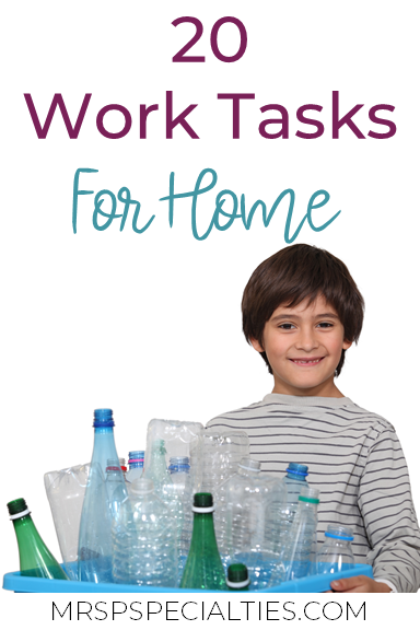 Even though students are learning from home right now, it is important for them to still be working on using and generalizing their skills in their learning environment. Read on for 20 ideas for work tasks to target independence, life skills, fine motor skills, pre-vocational goals at home.