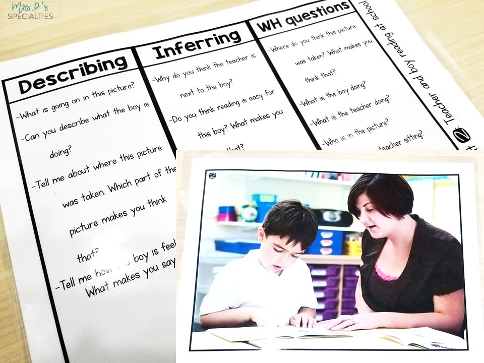 Example of the front and back of language prompts. Photo side is a teacher reading with a student. Back is 3 sections of questions to ask about the photo.