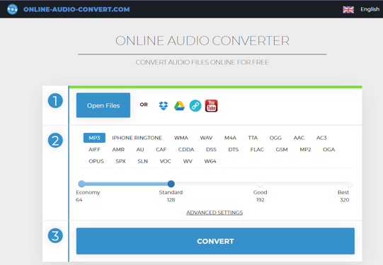 Example of what an online audio converter looks like