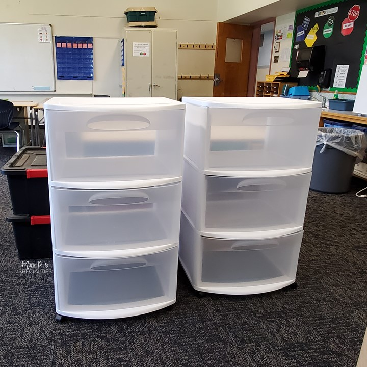 picture of 2 sterilite 3 drawer bins for storing hands on materials