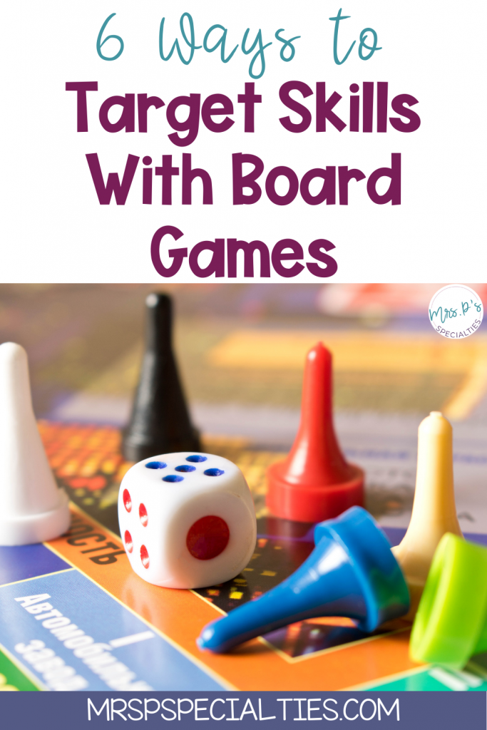 pin photo that says 6 skills to target with board games