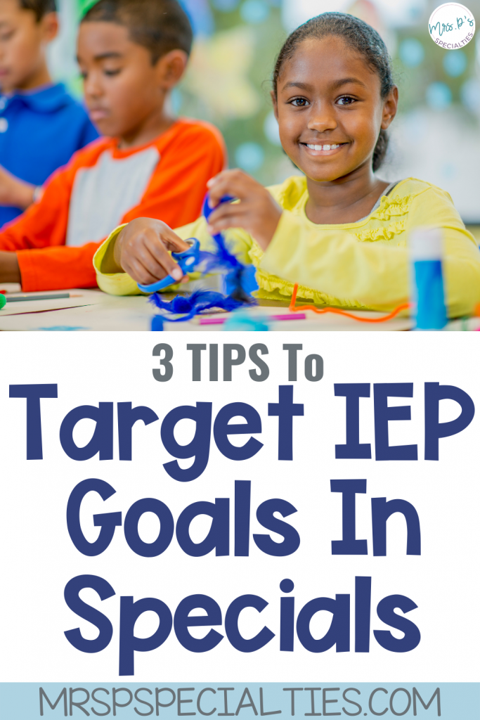 IEP goals in specials blog post pin image