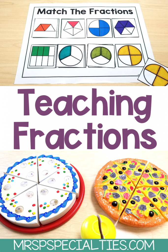 pin image for the blog post with tips on teaching fractions to special education students.