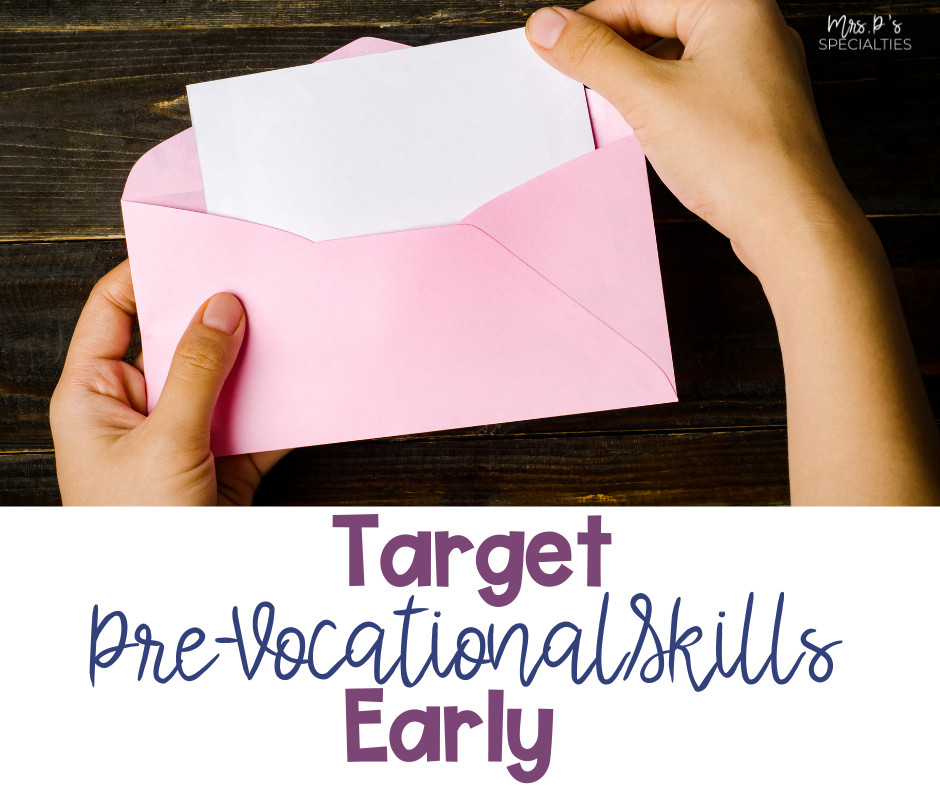 Student practicing pre-vocational skills by stuffing an envelope