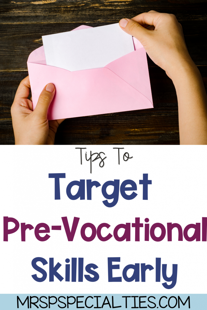 Pre-vocational skills blog post pin with photo of student stuffing an envelope.