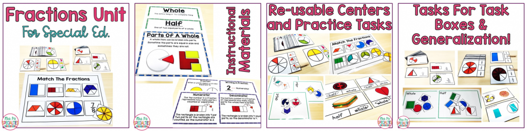 Photo of materials in the fractions math unit