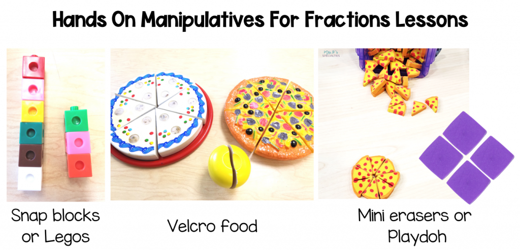manipulatives to teach fractions; blocks, legos, velcro food, mini rerasers and playdoh