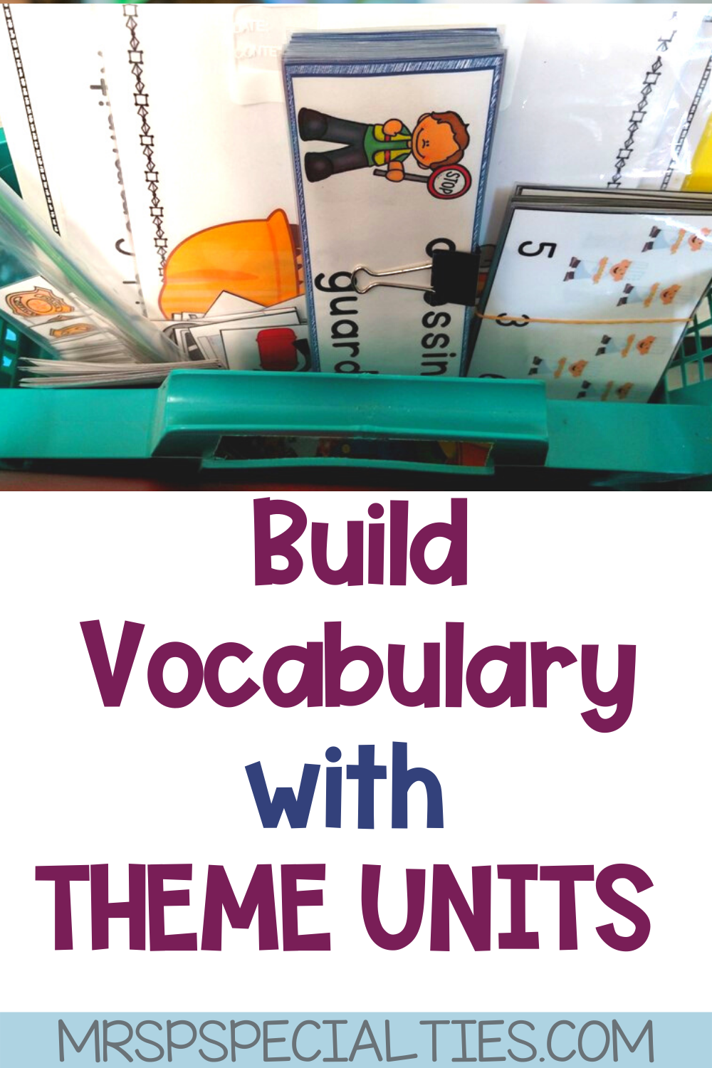 How to build vocabulary with theme units pin photo.