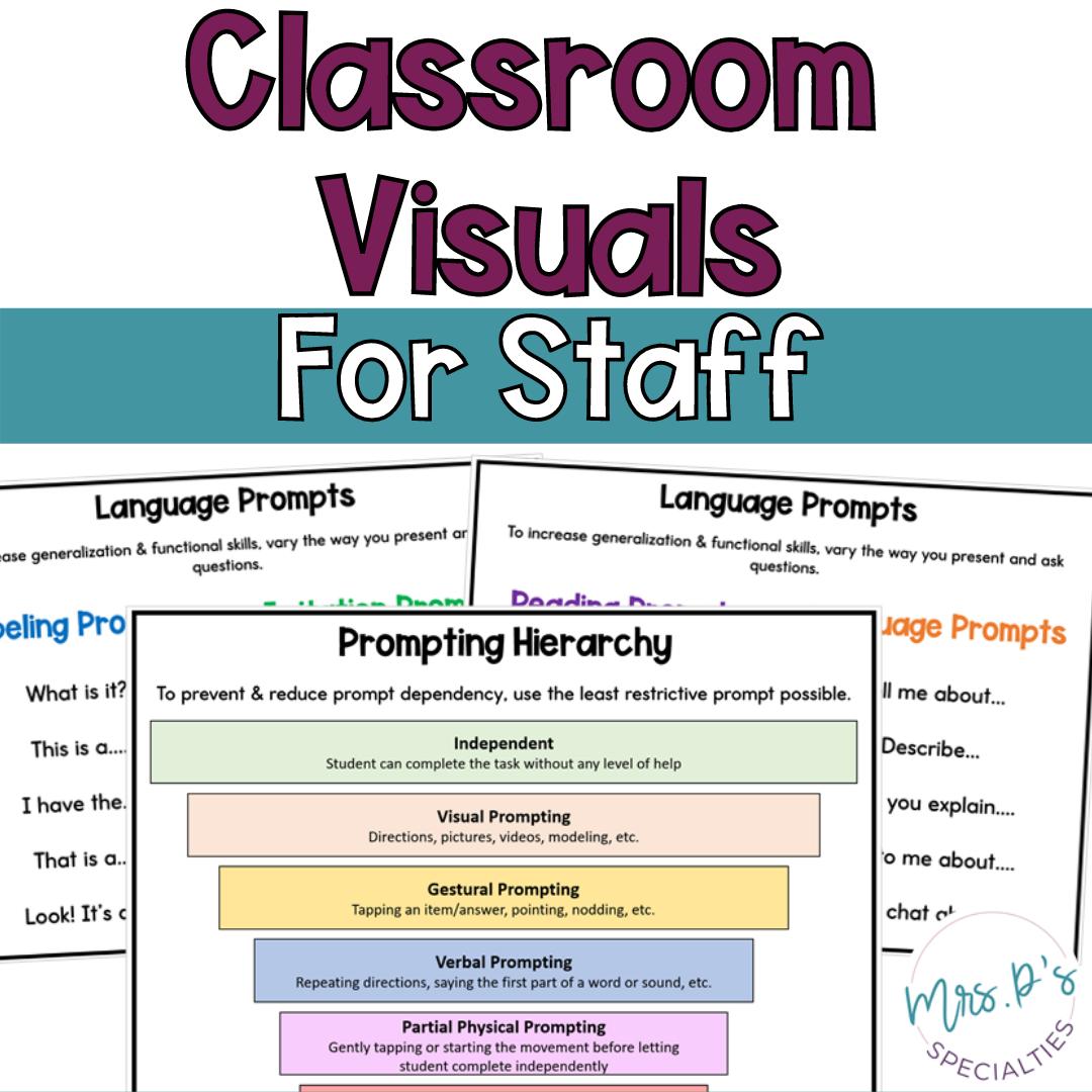 Classroom visuals for staff freebie cover