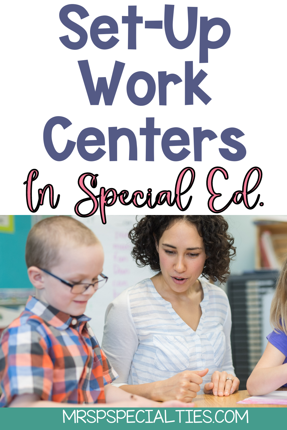 Work centers or stations in special education blog post pin image