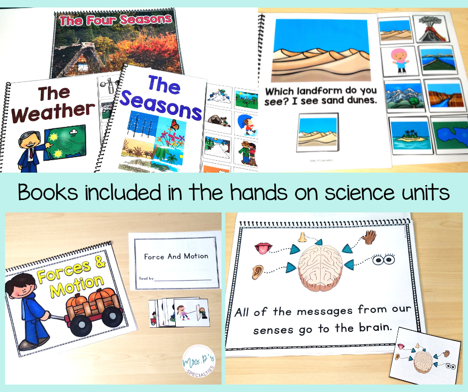 collage of books included in the hands on science units. Books pictured come from the weather unit, landforms unit, 5 senses unit and the force and motion unit.