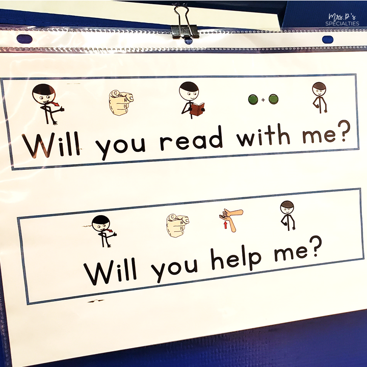 example of sentences hung up for students to expand language