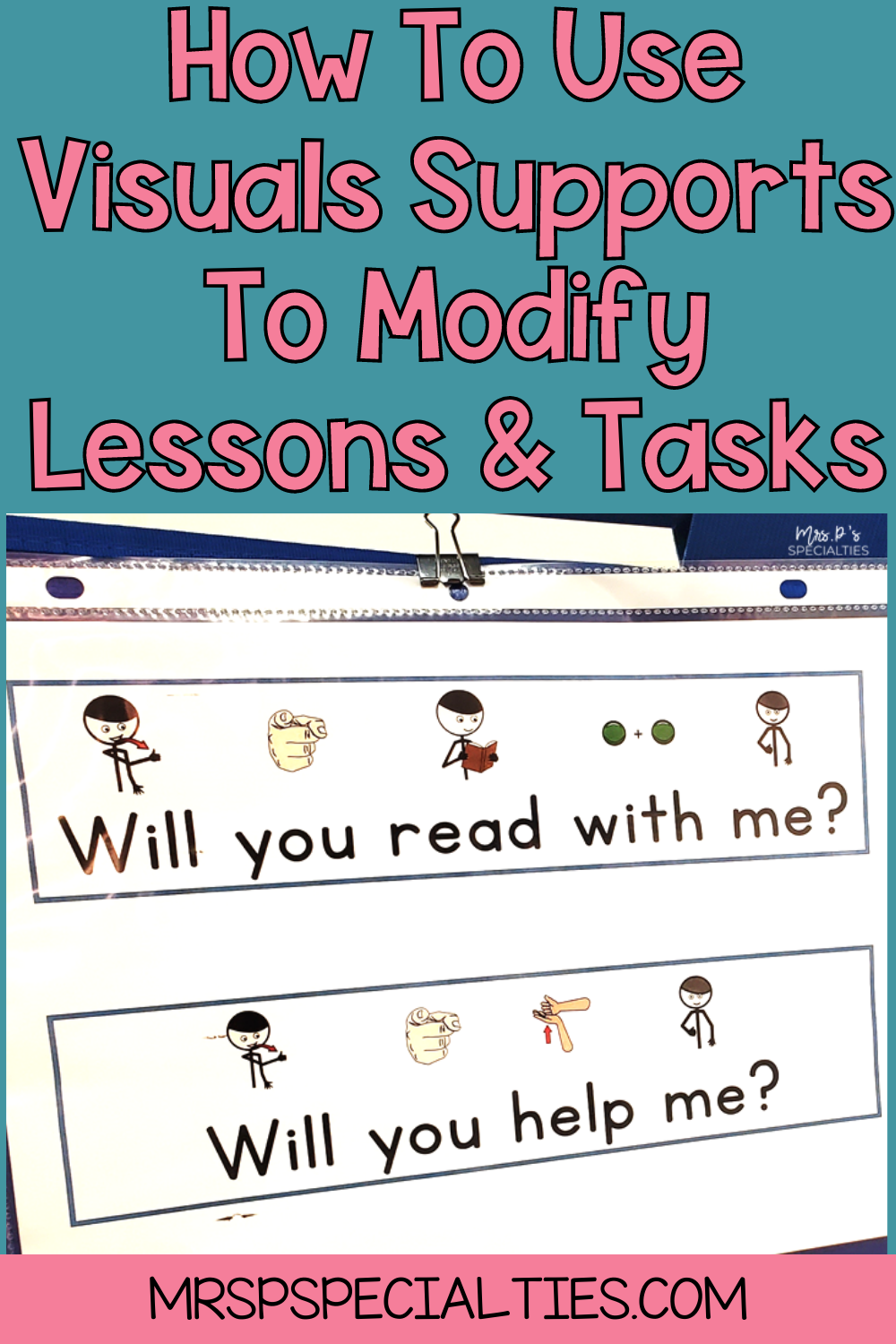 how to use visuals to modify and support lessons blog post pin image