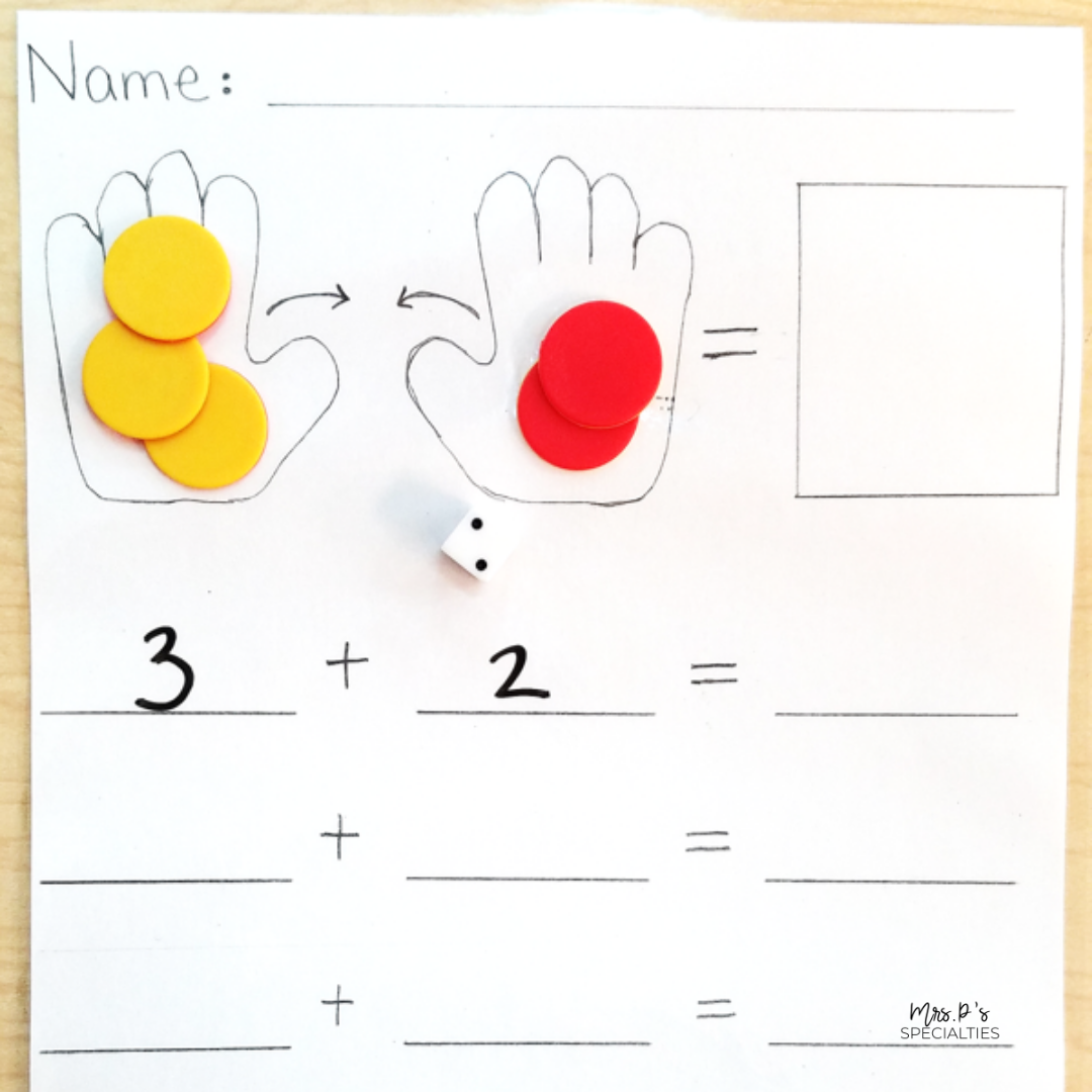 example of how to fade the hands mat into a worksheet format