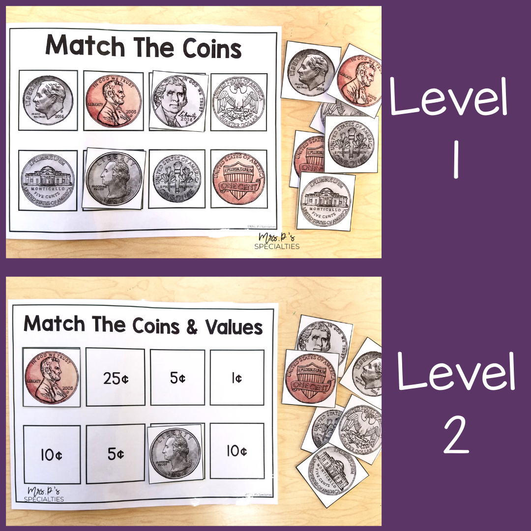 Example of how to differentiate math materials while targeting coin identification and values.