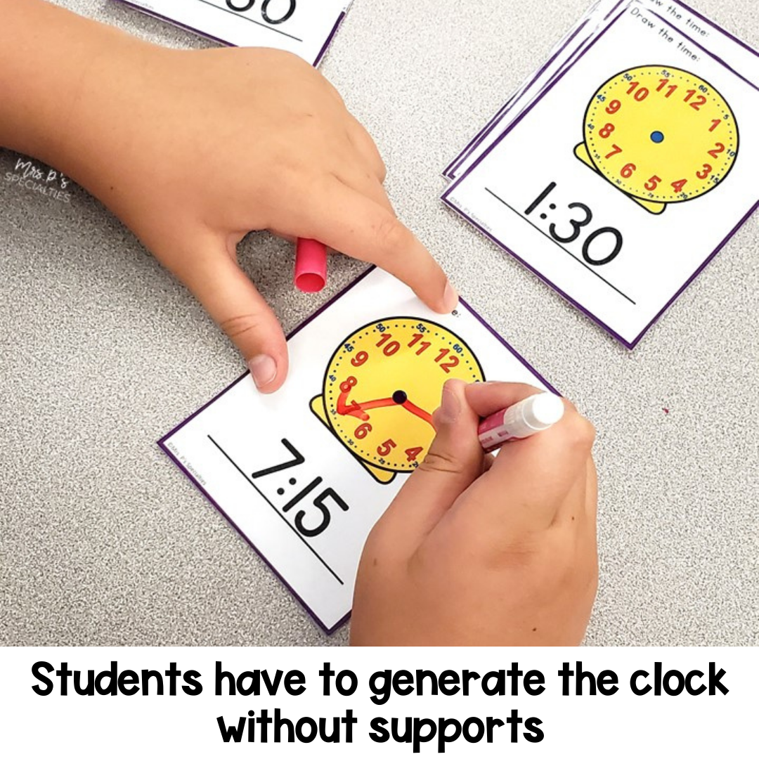 example of math task card where students have to draw the clock to match the given time