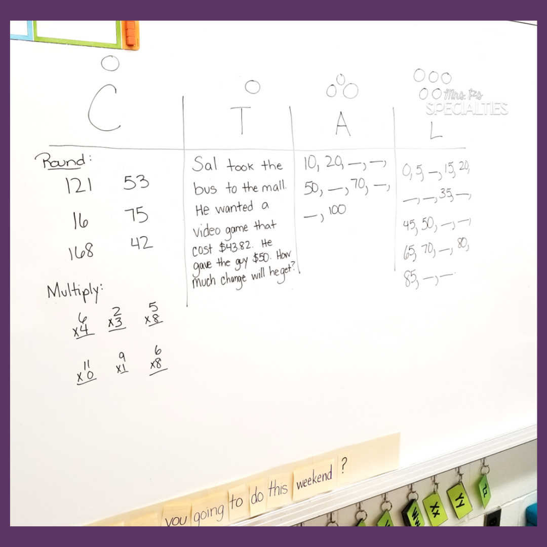 examples of math tasks written on the board for different math levels