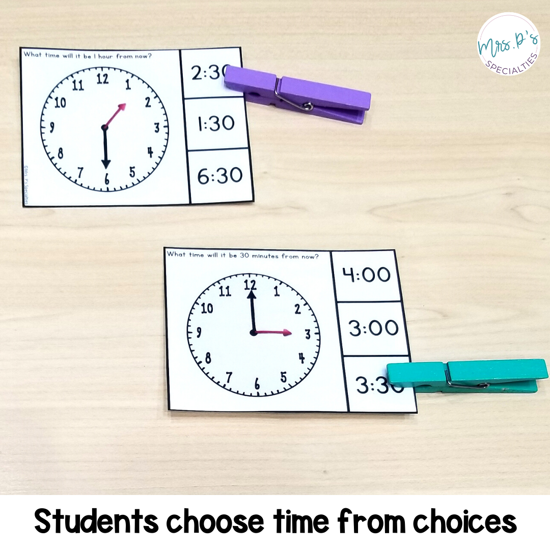 Photo of telling time math clip cards where students choose time shown on the clock from 3 answers